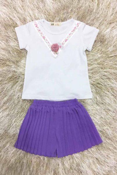 Bộ xếp li quần màu tím cho bé gái cực dễ thương
