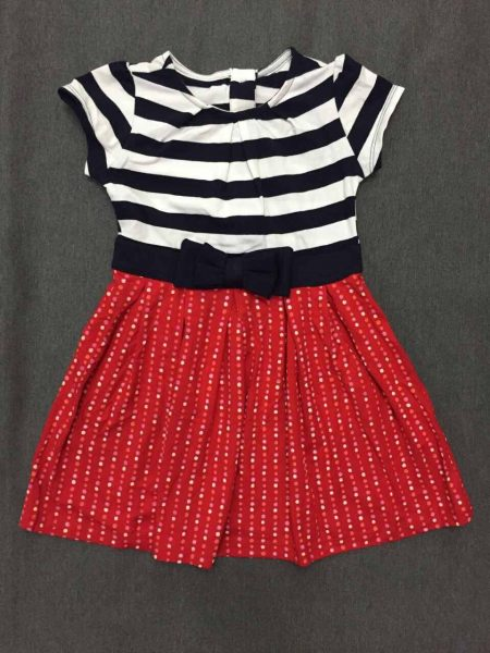 Đầm thun chấm bi quần sọc đỏ cho bé gái