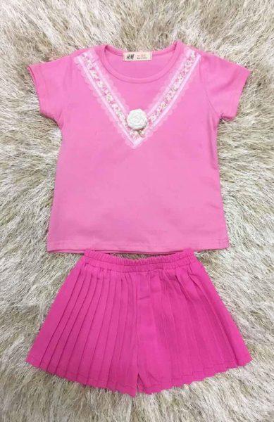 Bộ xếp li quần màu hồng cho bé gái cực dễ thương