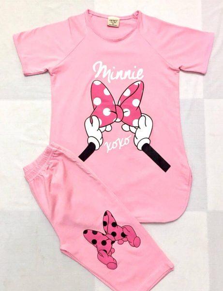 Đồ bộ thun cotton màu hồng cho bé gái rất dễ thương và dịu dàng