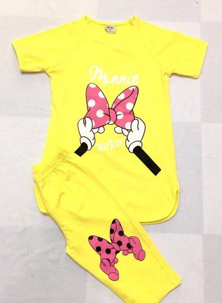 Đồ bộ thun cotton màu vàng cho bé gái rất dễ thương và dịu dàng