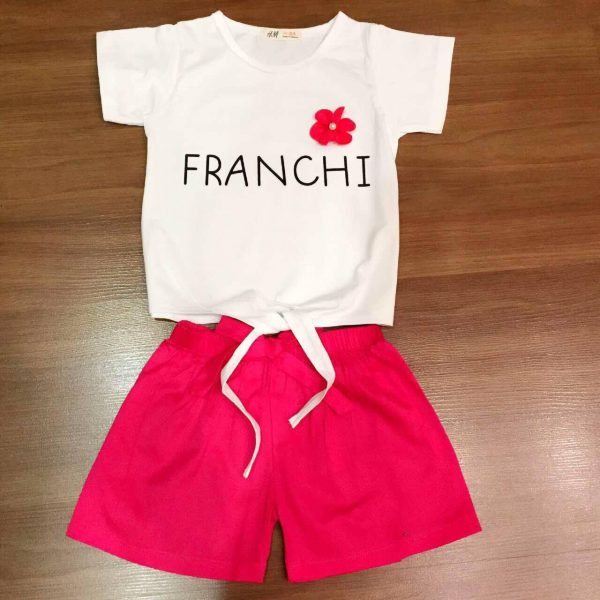 Set đồ thun cotton Franchi quần màu đỏ cho bé