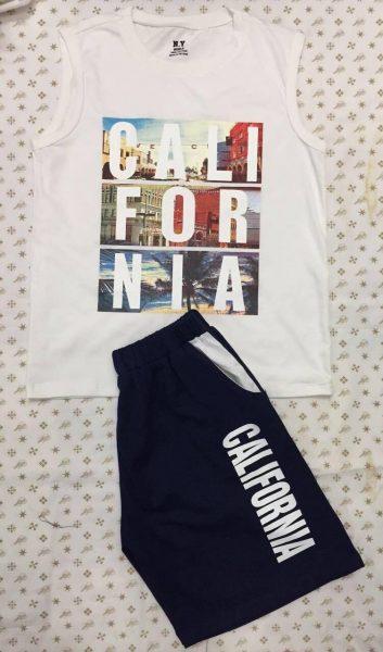 Set đồ áo sát nách quần short Cali màu trắng