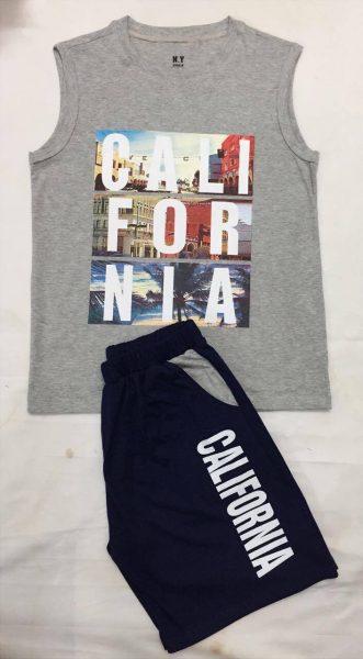Set đồ áo sát nách quần short Cali màu xám