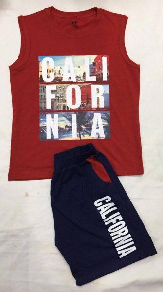 Set đồ áo sát nách quần short Cali màu đỏ