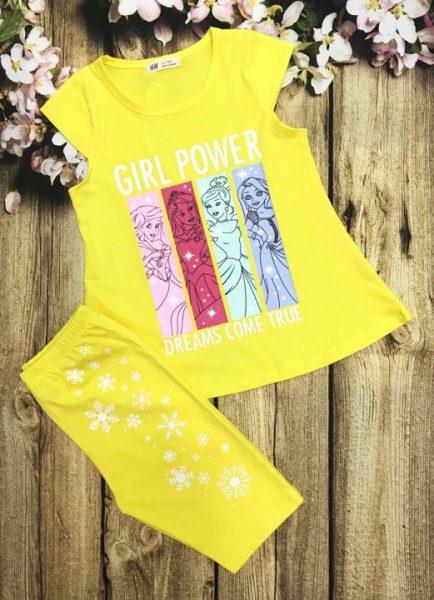 Đồ bộ thun cotton bé gái Girl Power màu vàng