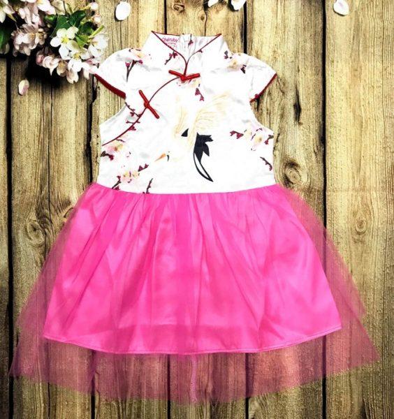 Đầm xoè cho bé gái in hình hoa đào