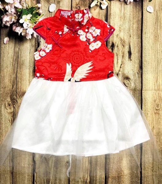 Đầm xoè cho bé gái áo màu đỏ