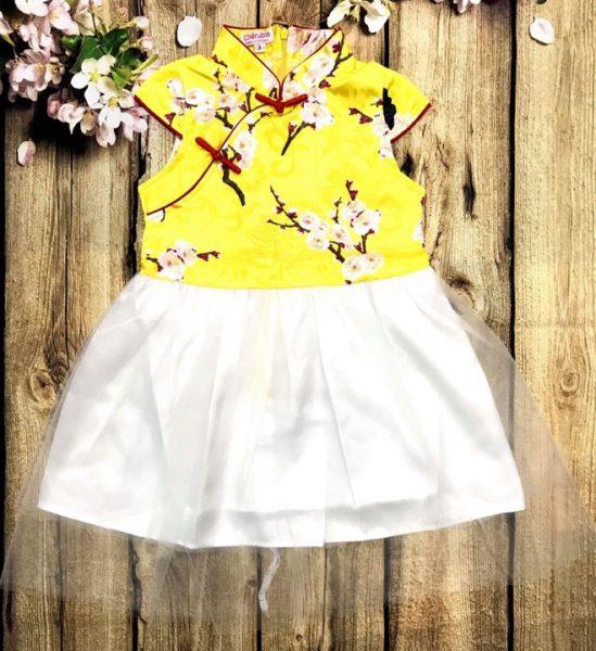 Đầm xoè cho bé gái áo màu vàng