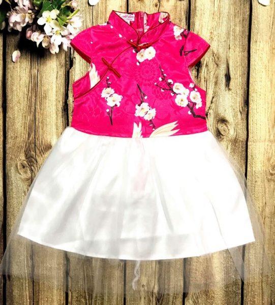 Đầm xoè cho bé gái áo màu hồng