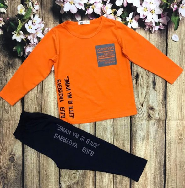 Đồ bộ áo thun bé trai dài tay màu cam