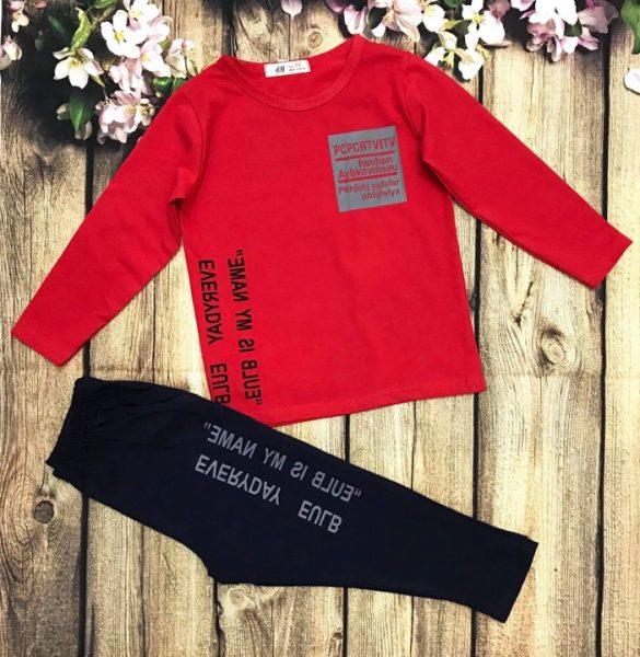 Đồ bộ áo thun bé trai dài tay màu đỏ