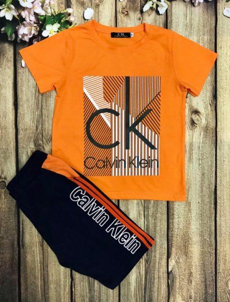 Áo thun bé trai tay ngắn Calvin Klein màu cam