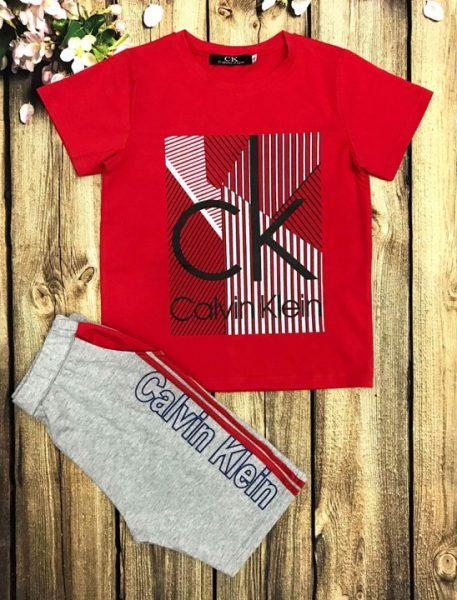 Áo thun bé trai tay ngắn Calvin Klein màu đỏ