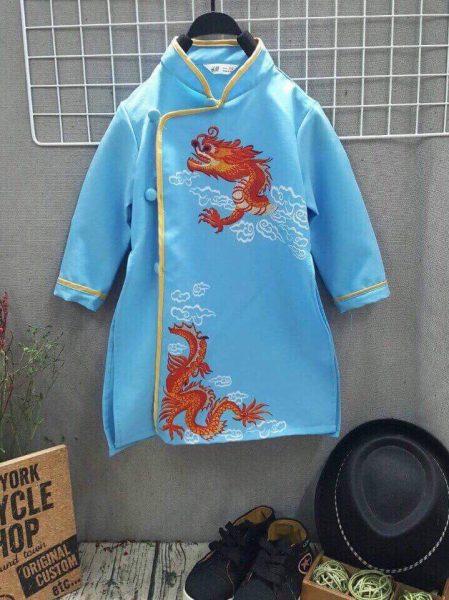 Áo dài bé trai in hình rồng xanh dương