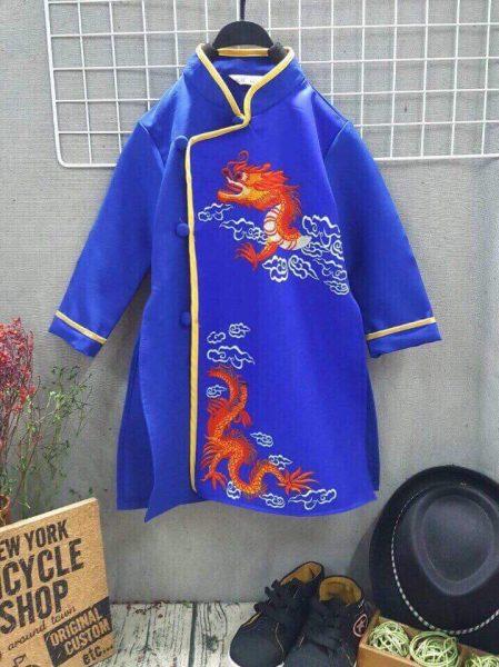 Áo dài bé trai in hình rồng màu xanh biển