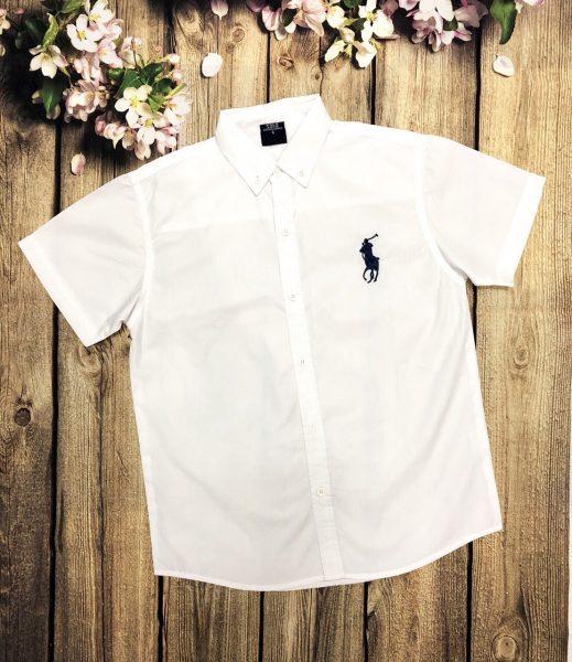 áo sơ mi bé trai tay ngắn màu trắng