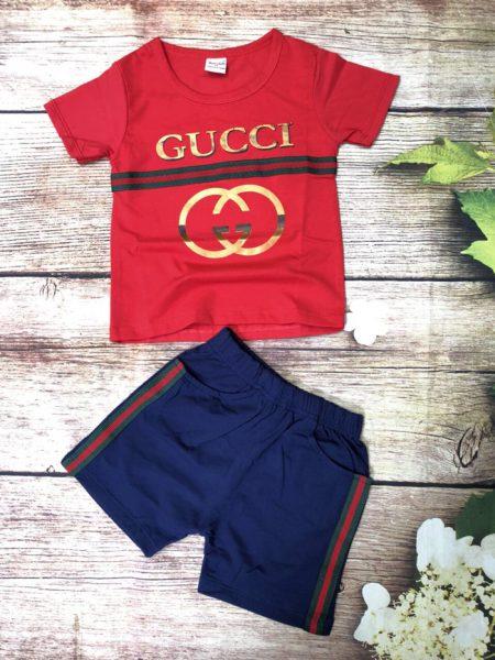 Đồ bộ thun bé trai Gucci ngắn tay màu đỏ