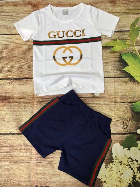 Đồ bộ thun bé trai Gucci ngắn tay màu trắng