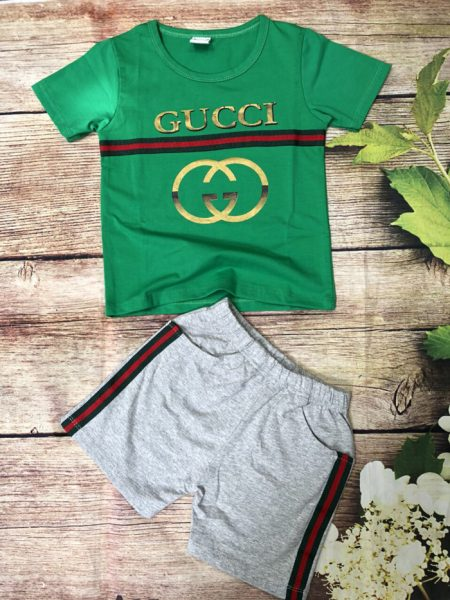 Đồ bộ thun bé trai Gucci ngắn tay màu xanh lá